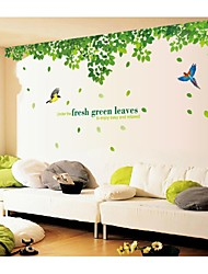 Wall Stickers Wall Decals, Style Fresh Green Leaves And Bird PVC Wall Stickers