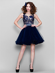 Ball Gown Jewel Neck Short / Mini Tulle Prom Dress with Beading by TS Couture®