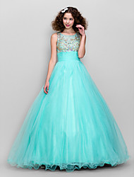 cheap -A-Line Jewel Neck Floor Length Tulle Formal Evening Dress with Beading Ruched by TS Couture®