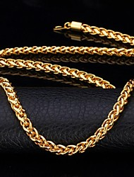 cheap -U7® Twisted Rope Chain Necklace 18K Real Gold Plated Long Chunky Necklace for Men Fashion Jewelry