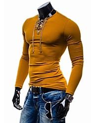 Coolman colori misti uomini v-collo sottile t-shirt a maniche lunghe