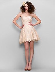 cheap -A-Line Sweetheart Neckline Short / Mini Lace Cocktail Party / Prom Dress with Lace by TS Couture®