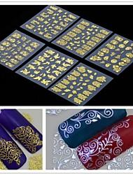 6pcs 3D-goldenen Blume Nail Art Aufkleber