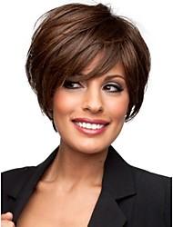 cheap -Capless Short Light Brown Wavy Human Hair Wigs with Side Bang