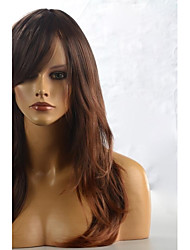 cheap -long brown yellow natural wave hair wig with side bang