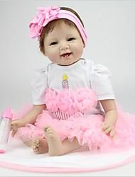 cheap -NPK DOLL Reborn Doll Baby 22inch Silicone / Vinyl - lifelike, Artificial Implantation Brown Eyes, Natural Skin Tone Girls' Kid's Gift