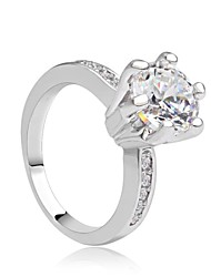 cheap -Cubic Zirconia Platinum Plated - Princess Classic White Ring For Party / Evening