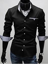 Camisetas (de Misturas de algodão/Poliéster MEN - Trabalho/Formal/Tamanhos Grandes - Manga Comprida