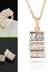 billiga -Smyckeset - Kubisk Zirkoniumoxid, Guldpläterad Statement, Vintage, Ledigt Omfatta Hängsmycken Guld / Silver Till / Örhängen / Dekorativa Halsband