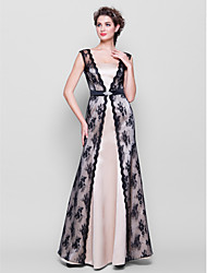 cheap -Sheath / Column Straps Floor Length Lace Satin Bridesmaid Dress with Lace Sash / Ribbon Crystal Brooch by LAN TING BRIDE®