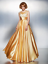 A-Line Scoop Neck Floor Length Stretch Satin Prom Dress with Appliques Ruching by TS Couture®
