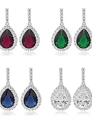 cheap -New Fashion 18K White Gold Plated Cubic Zircon Drop Earrings Elegant Water-Drop CZ Crystal Earring (More Colors)