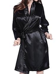 Women Robes Nightwear Solid Chiffon Lace Black
