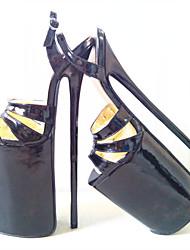 abordables -Mujer-Tacón Stiletto Plataforma-Plataforma-Tacones-Fiesta y Noche-PU-Negro Rojo
