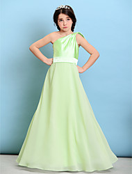 A-Line One Shoulder Floor Length Chiffon Stretch Satin Junior Bridesmaid Dress with Bow(s) Sash / Ribbon by LAN TING BRIDE®
