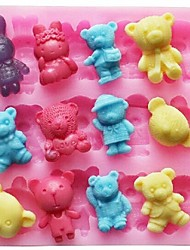 baratos -animal urso coelho bolo fondant de chocolate em forma de silicone bolo molde decoração ferramentas, l11.4cm * * w10.6cm h1.4cm