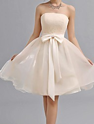 A-ligne sweetheart genou longueur chiffon robe de demoiselle d'honneur avec arc par yaying