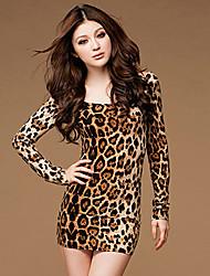 abordables -léopard estampes de femmes aamikare de robe fourreau à manches longues