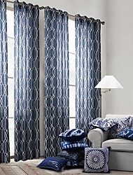 cheap -Rod Pocket Grommet Top Tab Top Double Pleat One Panel Curtain Modern, Print Bedroom Polyester Material Curtains Drapes Home Decoration