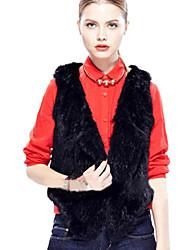 Недорогие -элегантных женщин искусственного меха V шеи Sleevless оборудованная жилет