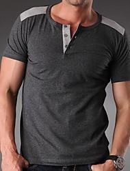 Menn Fritid / Arbeid / Sport / Plusstørrelse Ensfarget T-skjorte,Bomull / Spandex Kortermet-Svart / Blå / Brun / Lilla / Rød / Hvit / Grå