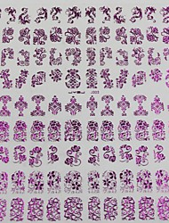 cheap -108pcs Mixed Pattern Of Flowers Purple Nail Art Stickers