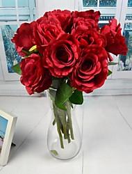 """economico -stile europeo bianco rosa rossa aperta artificiali rosa 2 parti / lotto 15.75 """"radice per la decorazione di nozze"""