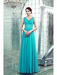 Sheath / Column V-neck Floor Length Chiffon Formal Evening Dress with Beading Side Draping by Ed Bridal