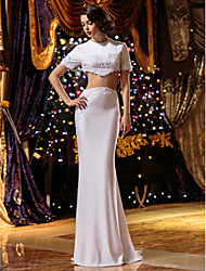 Mermaid / Trumpet Two Piece Jewel Neck Sweep / Brush Train Knit Wedding Dress with Beading Appliques by LAN TING BRIDE®