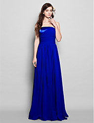 cheap -Sheath / Column Strapless Floor Length Chiffon Bridesmaid Dress with Side Draping Ruching by LAN TING BRIDE®