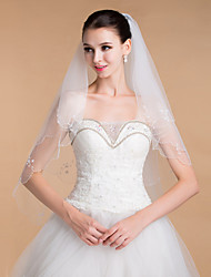 cheap -Two-tier Beaded Edge Wedding Veil Chapel Veils With 35.43 in (90cm) Tulle