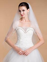 Недорогие -Свадебные вуали Два слоя Соборная фата Загнутый край 35,43 В (90 см) Тюль Белый Цвет слоновой кости