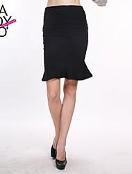 cheap -Women's Black Skirts , Vintage/Casual/Work Knee-length