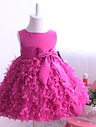 cheap -Ball Gown / Princess Knee Length Flower Girl Dress - Satin / Tulle Sleeveless Jewel Neck with Bow(s) / Sash / Ribbon / Pleats by
