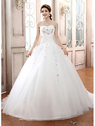 cheap -Ball Gown Strapless Court Train Tulle Wedding Dress with Beading by Embroidered bridal