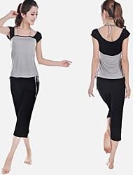 abordables -Yoga Ensemble de Vêtements/Tenus Séchage rapide Antistatique Limite les Bactéries Extensible Vêtements de sport FemmeYoga Noir Lavande