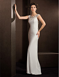 Sheath / Column Illusion Neckline Floor Length Stretch Satin Wedding Dress with Beading Lace by LAN TING BRIDE®