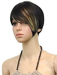 Donna Parrucche sintetiche Senza tappo Lisci Colorata parrucca nera costumi parrucche