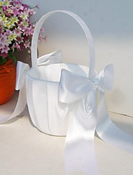 cheap -Classic Flower Girl Basket in White Satin With Bows Wedding Ceremony