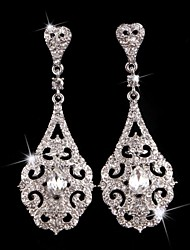 cheap -Vintage Party 1930's Wedding Princess Birde Crown Rhinestone Crystal Long Silver Earring