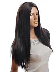 billige -Syntetiske parykker Lige Assymetrisk frisure Syntetisk hår 25 inch Natural Hairline Sort Paryk Dame Lang Lågløs Sort