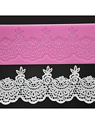 cheap -FOUR-C Sugar Craft Tools Silicone Lace Mat Sweet Lace Decorating Pad,Silicone Mat Fondant Cake Tools Color Pink