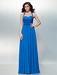 cheap -A-Line Halter Floor Length Chiffon Lace Formal Evening Dress with Lace Sash / Ribbon by TS Couture®
