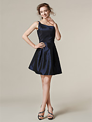 cheap -A-Line Princess One Shoulder Short / Mini Taffeta Bridesmaid Dress with Pleats by LAN TING BRIDE®