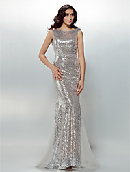 Mermaid / Trumpet Jewel Neck Sweep / Brush Train Sequined Formal Evening Dress with Sash / Ribbon by TS Couture®