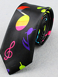 Unisex Polyester Neck Tie,Vintage Party Work Casual Print All Seasons Black Screen Color