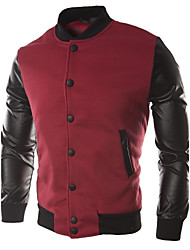 Men's Long Sleeve Casual Jacket,Cotton / Polyester / Cotton Blend Solid Black / Blue / Red / Gray