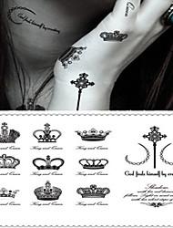 baratos -Etiqueta do tatuagem Corpo / pulso / Peito Tatuagens temporárias 1 pcs Série de mensagens / Série dos desenhos animados Adesivo Liso / Alta qualidade, livre de formaldeído Arte para o Corpo