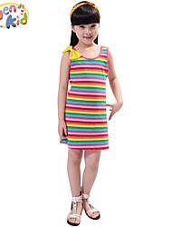 Vestito Girl Estate Cotone Nero / Blu / Multicolore / Rosso / Grigio A strisce