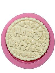 Round Happy Birthday Fondant Silicone Mold Cake Decorating Mould Chocolate Mould Silicone Cake Design Cake Tools